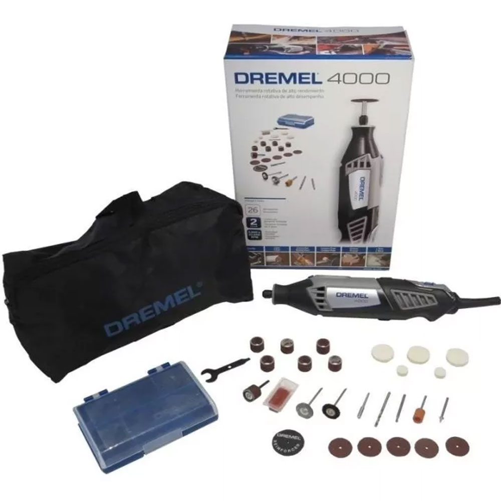 MICRORETIFICA DREMEL 4000 N/26 COM 26 ACESSORIOS 220V F013400ONV