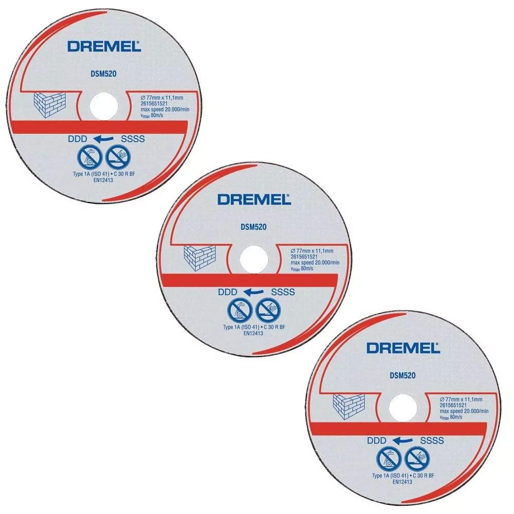 DISCO DE CORTE ALVENARIA COM 3 UNIDADES DREMELSAWMAX SM520 2615S520NC
