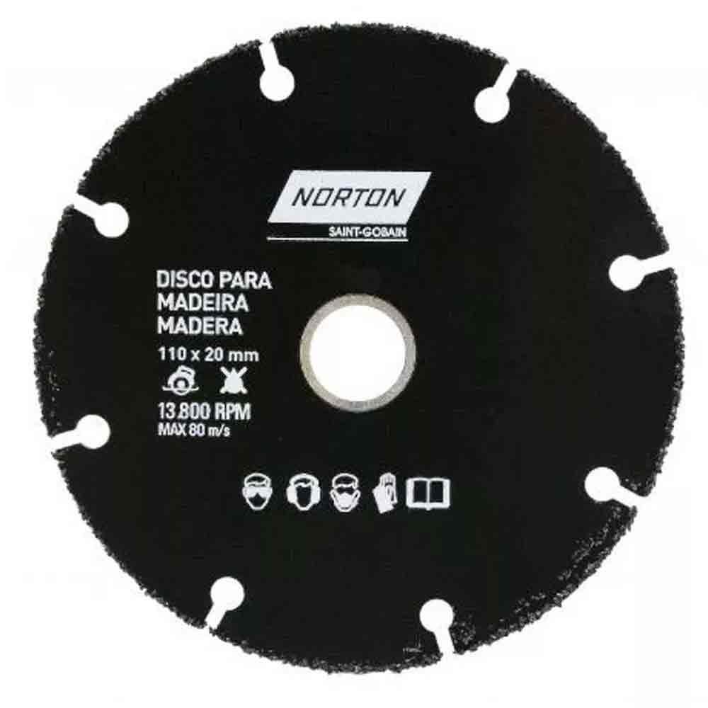 DISCO DE SERRA MARMORE PARA MADEIRA 110 X 20MM NORTON 69957315170
