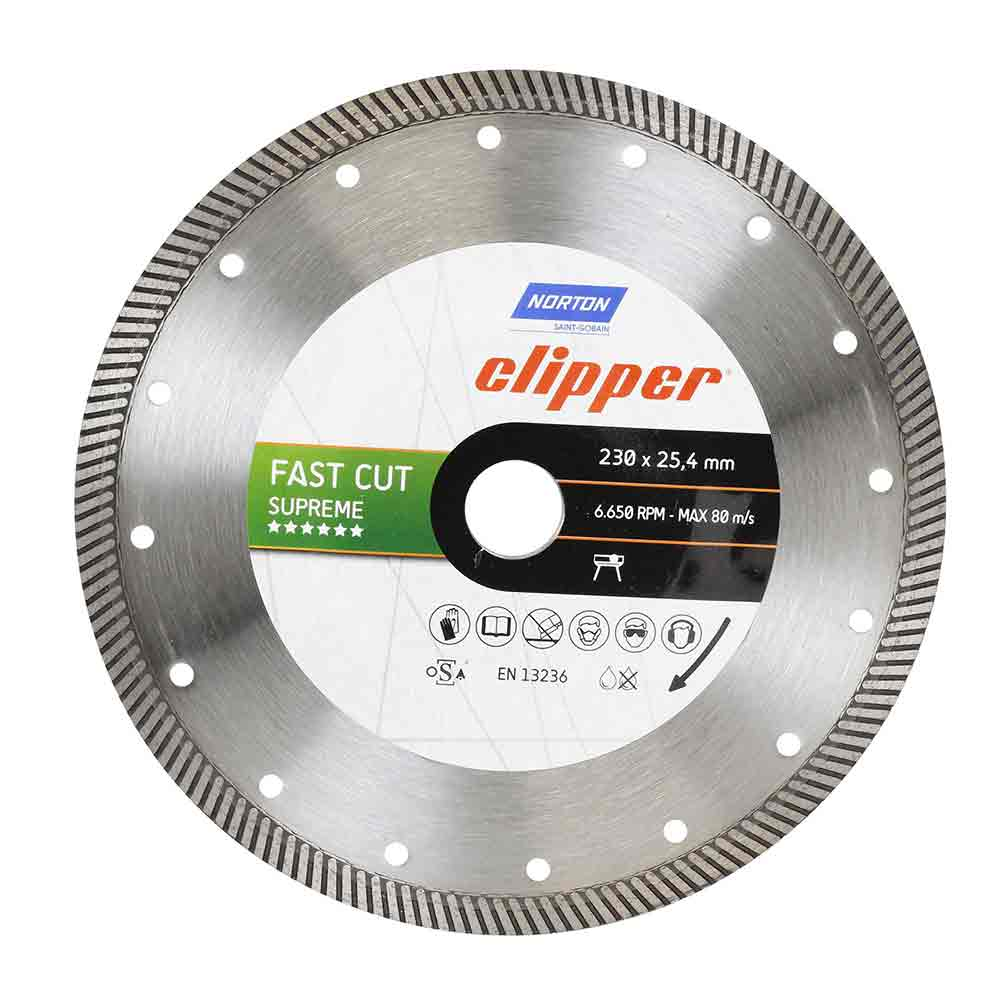 DISCO DIAMANTADO TURBO 230 X 25,4MM FAST CUT SUPREME PORCELANATO CLIPPER 70184601443